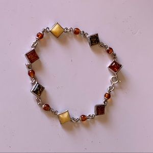 Sterling Silver Multi-Colored Amber Bracelet